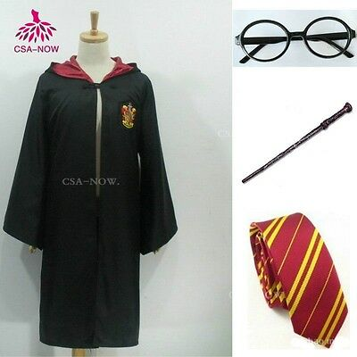 Harry Potter Cape Adult Gryffindor Robe Cloak With Tie GLASSES Cosplay Costume