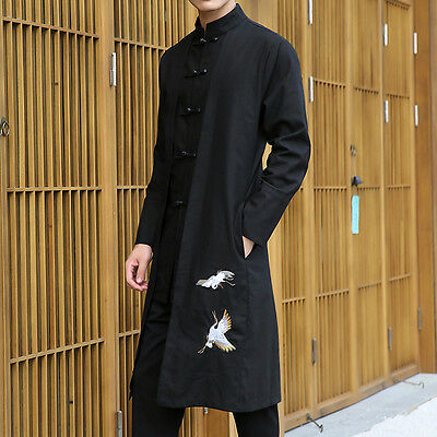 Chinese Style Crane Embroidery Cotton Linen Long Gown Robe Tang Suit Kungfu Coat