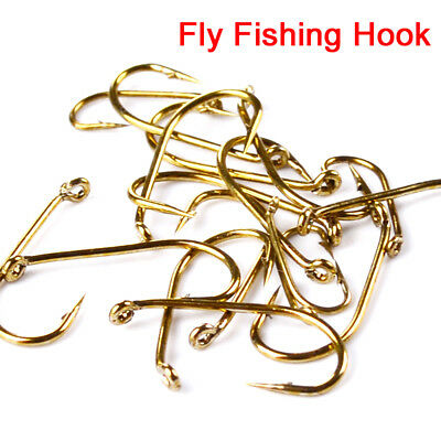 Fly Fishing Hooks Barbed Hook Fishhook Bass High Carbon Steel Gold 200pcs New