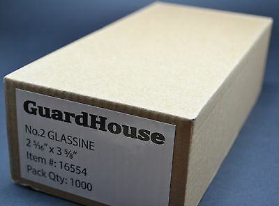 """lot of 1000 # 2 GLASSINE ENVELOPES 2 5/16 x 3 5/8"""" GUARDHOUSE STAMP COLLECTING"""