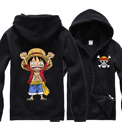 Anime One Piece Monkey D Luffy Hoodie Teens Hooded Jacket Sweatshirt Zipper Coat