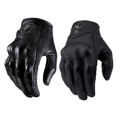 Motorcycle Bicycle Riding Protective Armor Black Short Leather Gloves Size S M L