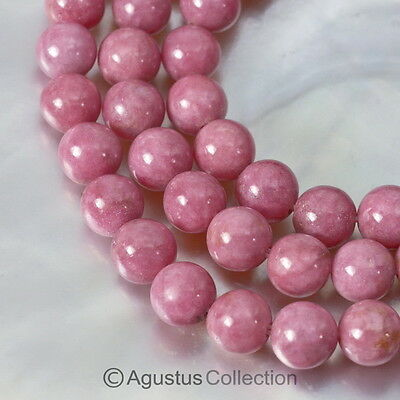 "141.1 ct RHODONITE 15.9"" Bead Strand Smooth 6 mm Round Gemstone"