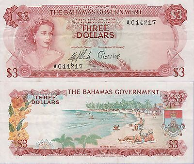 "Bahamas 3 Dollars Banknote 1965 Very Fine Condition Cat#19-A-4217""33% Off"""