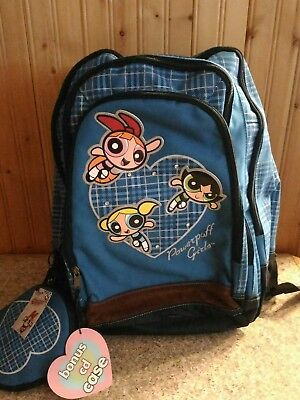 NEW! Original 2002 Vintage retro Powerpuff Girls backpack + CD case