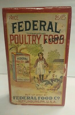 1907 NOS Federal Poultry Food Tonic General Store Feed Mill Chicken Box Farm