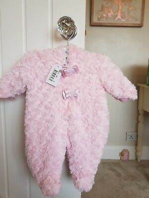Zap Zap Baby Girls Light Pink Snowsuit With Satin Bows