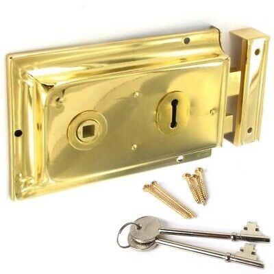 POLISHED BRASS Double Handed Old Victorian Rim Lock & 2 Keys Door Latch 150mm