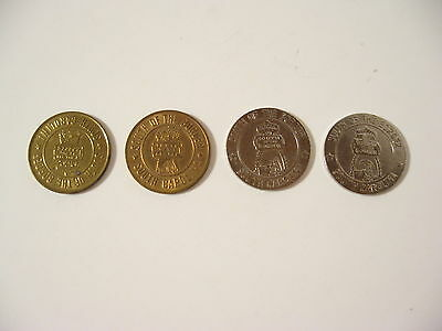4 VintageSouth of the Border Good Luck Coins Tokens Silver Gold & Brass Colors