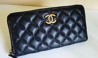 Vintage Long Black Lambskin Quilted Leather Top Zipper Authentic Chanel Wallet
