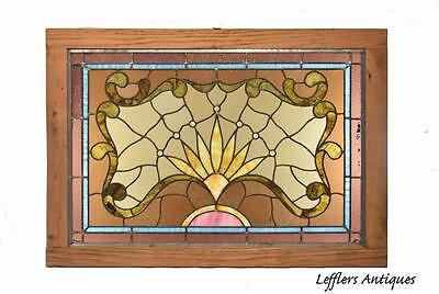 Beautiful Victorian Stained Glass Jeweled Ripple Glass Window Sunrise Detail