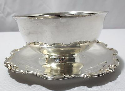 Antique Gorham Silverplate Rondo Gravy Sauce Boat w/ attached plate