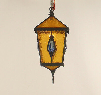 1 Light Antique Amber Rain Glass Leaded Lantern w/ Hand Cut Czecho Blue Pendant