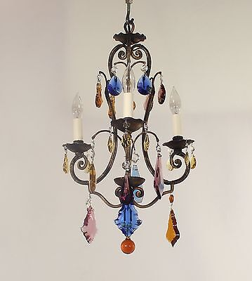 Antique 3 Light French Black & Gold Wrought Iron Chandelier w/ Antique Crystals