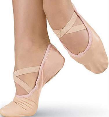Ballet Leather Shoes Crossed Elastics Full Sole