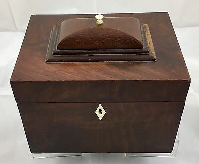 Victorian Mahogany / Rosewood Teacaddy With Sections