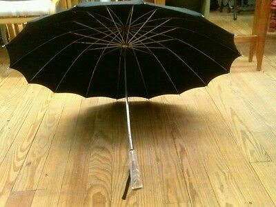 Vintage Black Umbrella Parasol With Lucite Handle