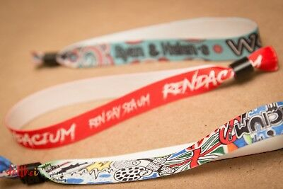Custom Personalised Fabric Wristbands - FULL COLOUR - Your: Design, Logo,Image