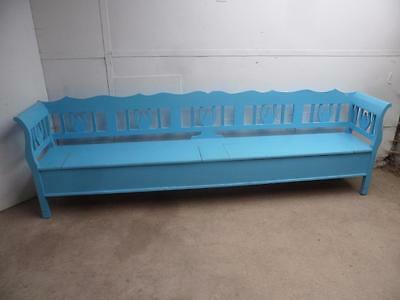 A Fantastic Large 3 Metre Reclaimed Pine Sky Blue 5/6 Seater Box Settle/Bench