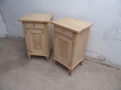 A Pretty Pair of Antique /Old Pine Late Victorian Bedside Cabinets to Wax/Paint