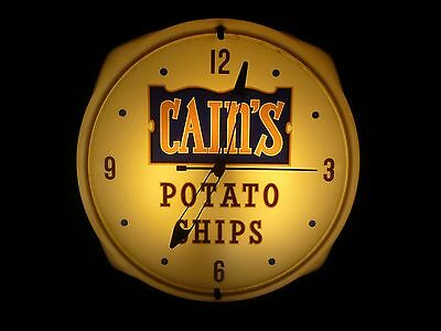Vintage Original CAIN'S Potato Chips Advertising Lighted Clock