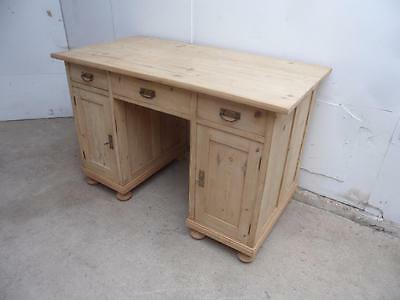 A Cracking Large Panelled Antique/Old Pine Office Desk to Wax/Paint