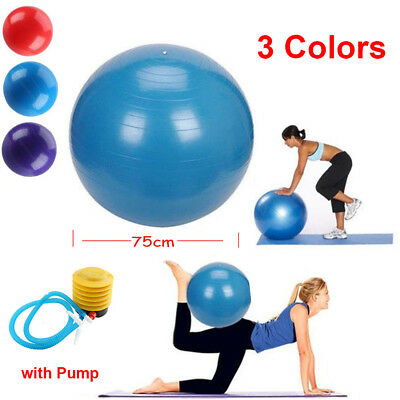 200KG SUPER CAPACITY YOGA EXERCISE GYM FITNESS ABS BALL ANTI BURST 75cm W/ PUMP