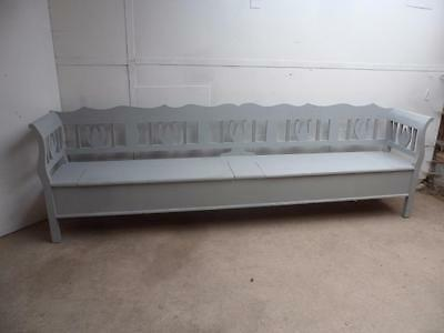 A Superb Reclaimed Pine Large 3 Metre Light Grey Shabby Chic Box Settle/Bench