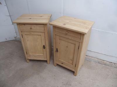 A Rare Pair of Antique / Old Pine Lockable Bedside Cabinets to Wax/Paint