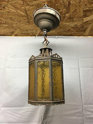 Vtg Arts Crafts Copper Fixture Stained Glass Panels Porch Ceiling Light 600-17E