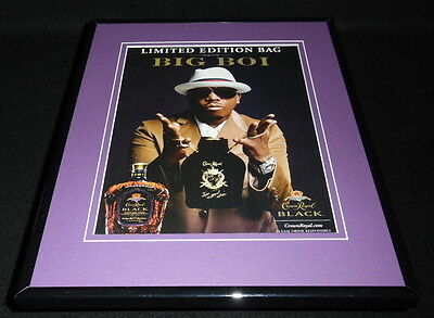 Big Boi 2011 Ltd Ed Crown Royal Black Whisky 11x14 Framed ORIGINAL Advertisement