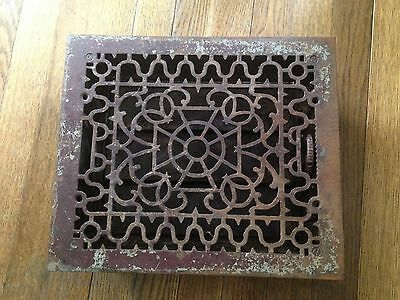 "Antique Victorian Cast Iron Floor Heat Register Vent Grate~Ornate~11.75"" x 13.75"