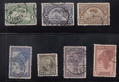 Liberia # 230-36 POSTALLY USED-NOT CTO Complete 1928 ABNCo. Set Map