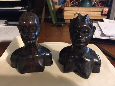 """Pair Of Art Deco Influenced African Carved Wood Busts 5"""" Tall"""