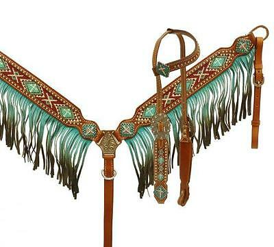 Showman Beaded Inlay Cross W/ TEAL Fringe Headstall and Breast collar TACK SET!