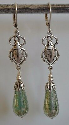 Art Nouveau/Deco Vintage Egyptian Revival Silver Green Czech Glass Drop Earrings