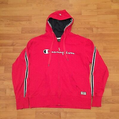 Champion Classics Athletic Zip Up Hoodie Hooded Jacket Cotton Red Mens Large