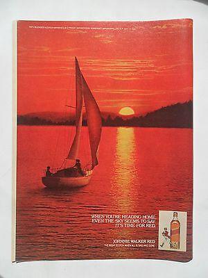 1980 Print Ad Johnnie Walker Red Label Whiskey ~ Romantic Sunset Sail Boat