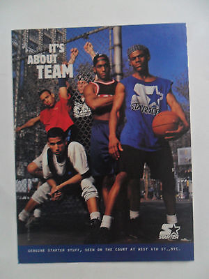 1995 Print Ad STARTER Clothing Fashion ~ It's About Team Basketball