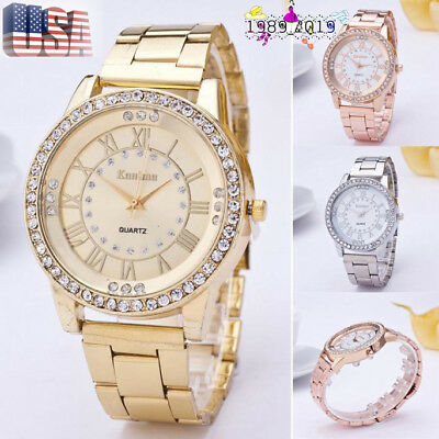 Women Men Luxury Crystal Rhinestone Stainless Steel Analog Quartz Wrist Watch US