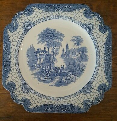 Adams Blue And White Landscape Dinner Plate 1930's