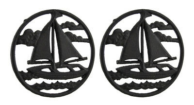 2 Piece Rustic Brown Sailboat On the Sea Round Cast Iron Trivet Set