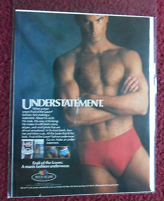 1986 Print Ad Fruit of the Loom Men's Underwear Briefs RED ~ UNDERSTATEMENT