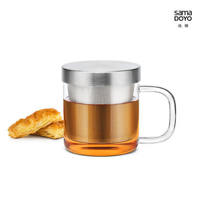 Samadoyo S-049 Stainless Steel Infuser Strainer Glass Tea Cup Mug 350ml NEW