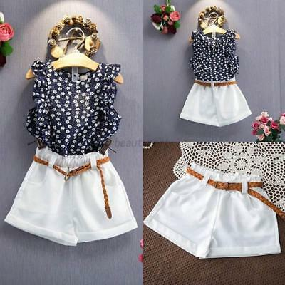 2PCS Infant Kids Baby Girls Cute Clothes T-shirt +Shorts Skirts Set Outfits 2-7Y