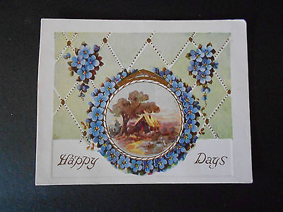 VINTAGE HAPPY DAYS GREETING CARD HOMESTEAD SCENE FORGET ME NOTS C1900s