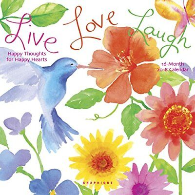 Live Love Laugh 2018 Mini Wall Calendar by Graphique, NEW, Free Shipping