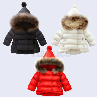 Toddle Baby Winter Coat Thick Fur Collar Down Jacket Kids Girls Cotton Outerwear