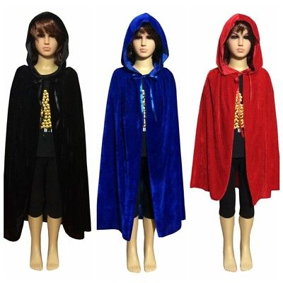 Kids Boy Girl Halloween Hooded Velvet Vampire Cape Witch Cloak Wrap Party S/M/L