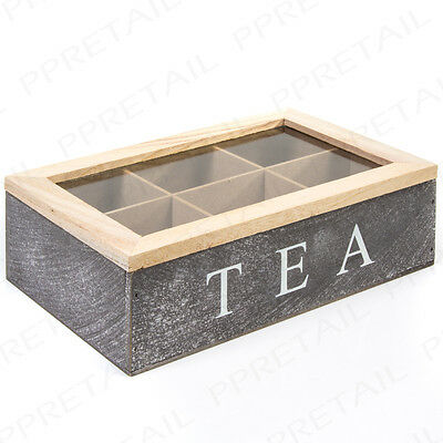 Vintage Shabby Chic Tea Bag Box NATURAL WOOD 6 Compartment GLASS LID Chest Caddy